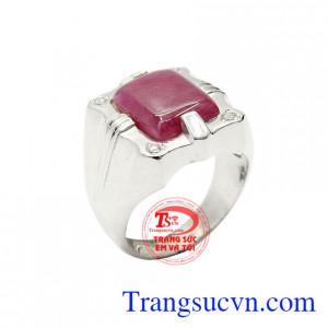 Nhẫn bạc nam ruby thiên nhiên