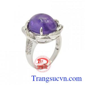 Nhẫn nữ bạc thạch anh tím đẹp