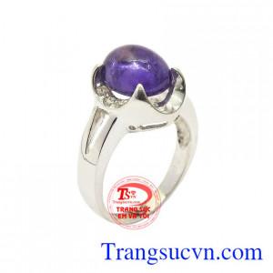 Nhẫn nữ bạc thạch anh tím