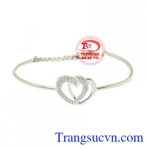 Vòng tay vàng trắng trái tim
