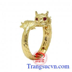 Nhẫn nam vàng rồng đính Ruby