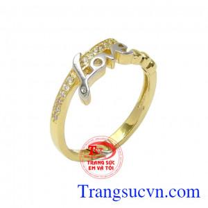 Nhẫn nữ vàng chữ Love
