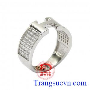 Nhẫn nữ vàng trắng chữ H