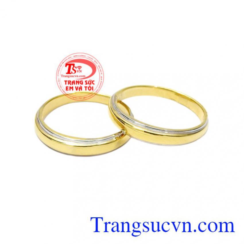 Nhẫn cưới vàng trơn hạnh phúc