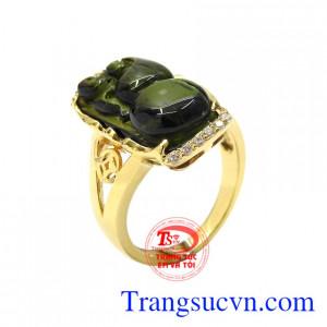 Nhẫn nữ tourmalin thiên nhiên