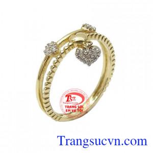 Nhẫn nữ vàng tây duyên dáng