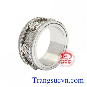 Nhẫn vàng trắng phong cách mới