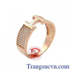 Nhẫn nam vàng hồng chữ H