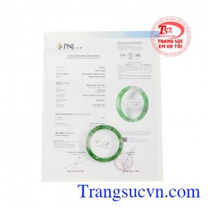 Vòng ngọc jadeite an nhiên có giấy kiểm định đá quý, giao hàng nhanh trên toàn quốc.