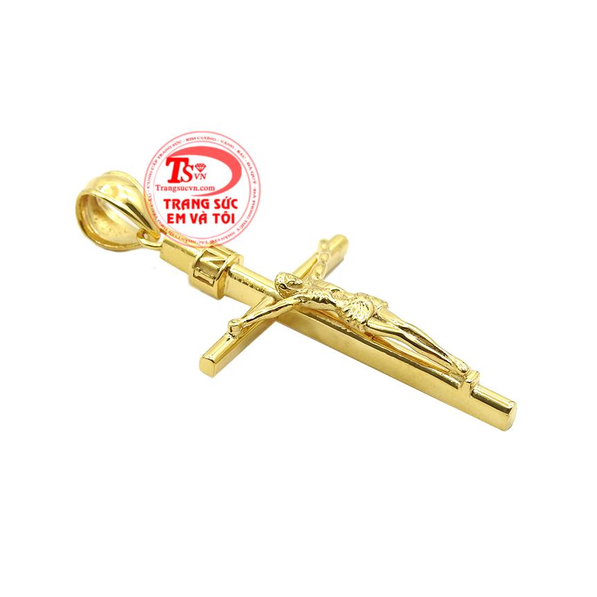 Mặt thánh giá vàng tây đẹp được chế tác từ vàng tây 14k với kiểu dáng vô cùng đẹp mắt.