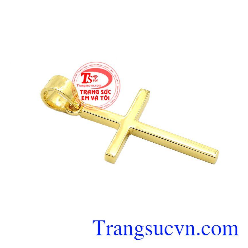 Thánh giá vàng an lành được chế tác tinh tế từ vàng 14k, sáng bóng.