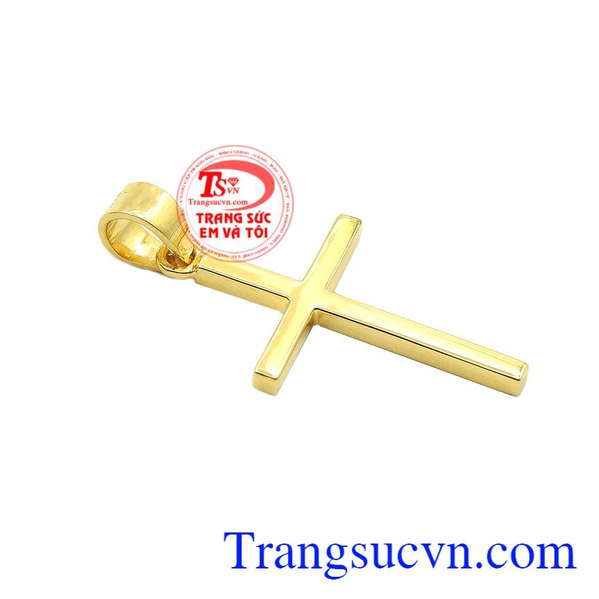Thánh giá vàng thời thượng được chế tác sáng bóng từ vàng 10k, sắc nét.