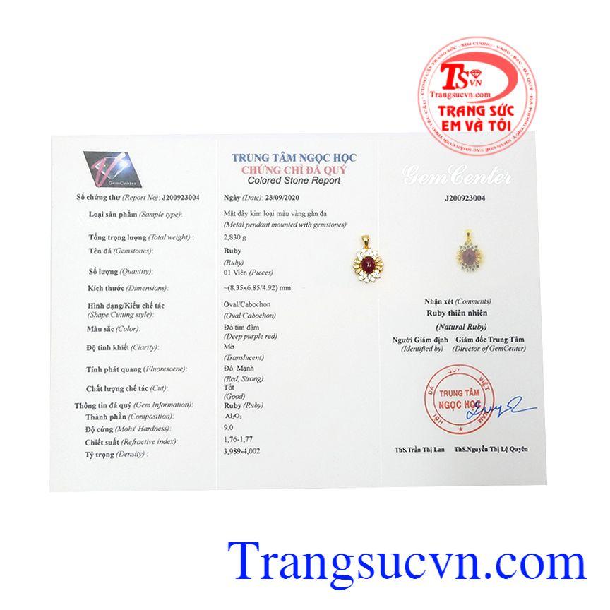 Mặt dây ruby tỏa sáng có giấy kiểm định đá quý, nhận đặt chế tác theo yêu cầu.