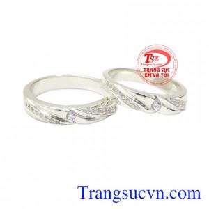 Nhẫn đôi bạc hạnh phúc