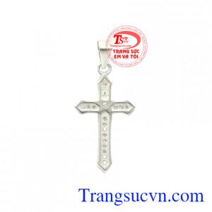 Thánh giá bạc đính đá an lành
