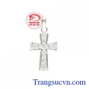 Thánh giá bạc đính đá an yên