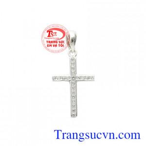 Thánh giá bạc đính đá nhỏ xinh