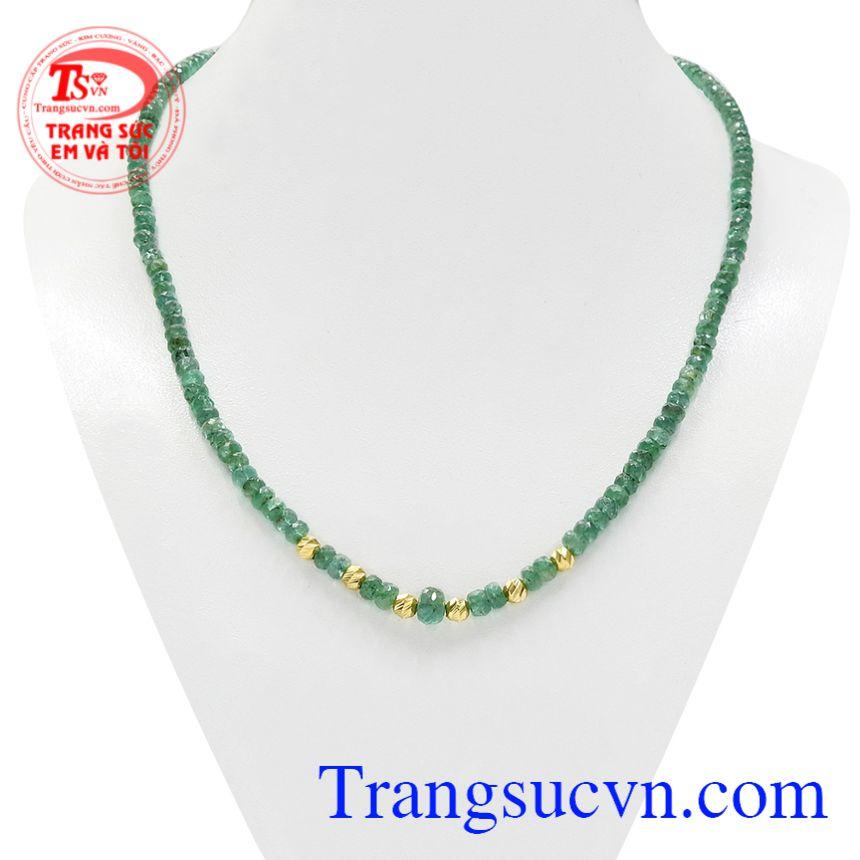 Chuỗi cổ Emerald bi vàng