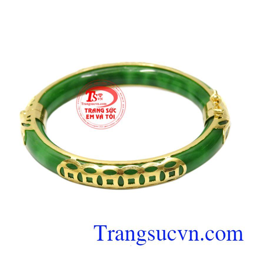 Vòng Jadeite bọc vàng kim tiền