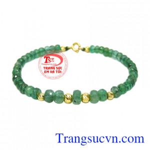 Chuỗi tay Emerald bi vàng