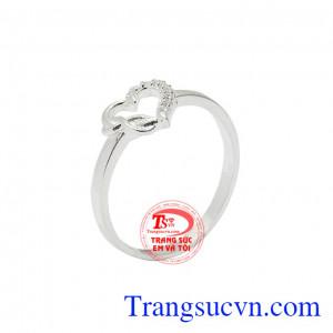 Nhẫn bạc nữ trái tim