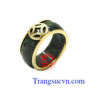 Nhẫn nam cẩm thạch kim tiền