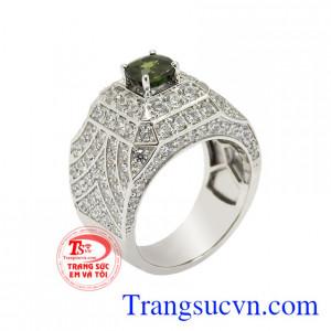 Nhẫn nam vàng trắng Saphir