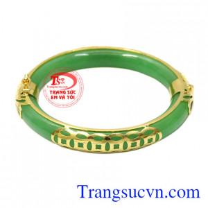 Vòng cẩm thạch bọc vàng kim tiền