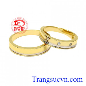 Nhẫn cưới vàng tây viên mãn