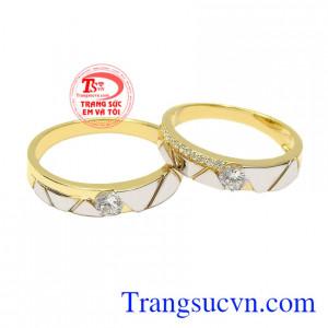 Nhẫn cưới vàng tình yêu viên mãn