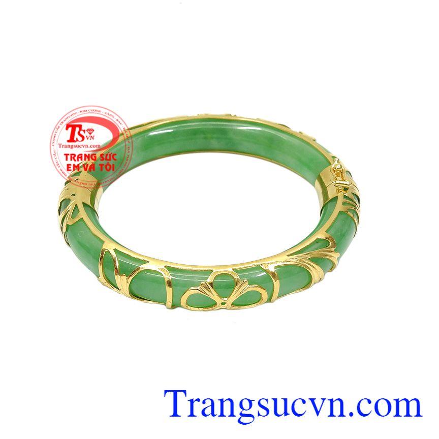 Vòng jadeite bọc vàng bình an