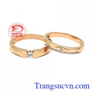 Nhẫn cưới vàng hồng viên mãn