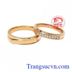 Nhẫn cưới vàng hồng yêu thương