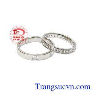 Nhẫn cưới vàng trắng ngọt ngào
