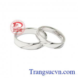 Nhẫn cưới vàng trắng viên mãn