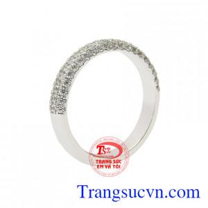 Nhẫn vàng trắng thanh tú