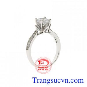 Nhẫn vàng trắng trang nhã