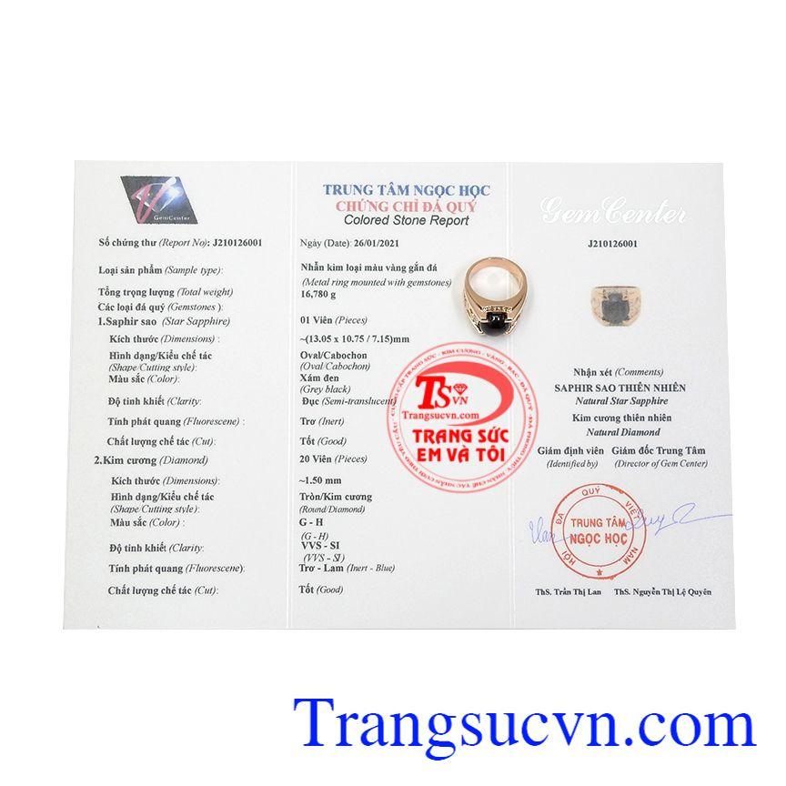 Nhẫn nam vàng hồng sapphire sang trọng có giấy kiểm định đá quý, bảo hành uy tín, nhận chế tác theo yêu cầu.