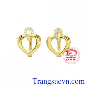 Hoa tai nữ vàng trái tim