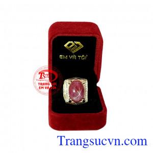 Khi mang viên đá này bên mình sẽ giúp người dùng gặp may mắn và thành công. Nhẫn nam ruby sao quyền lực