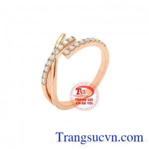Nhẫn nữ vàng hồng cá tính