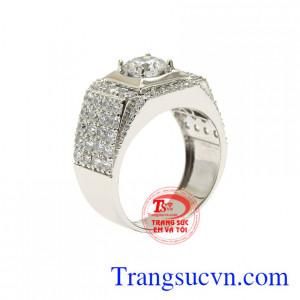 Nhẫn vàng trắng nam lịch lãm