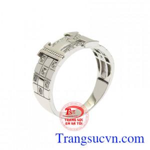 Nhẫn vàng trắng nam tính đẹp