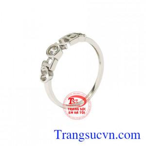 Nhẫn vàng trắng nữ tình yêu