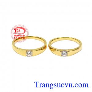 Nhẫn cưới vàng hạnh phúc giản đơn