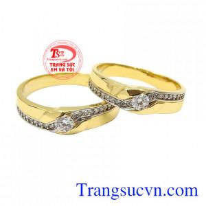 Nhẫn cưới vàng tâm đầu ý hợp