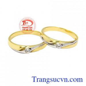 Nhẫn cưới vàng tây mặn nồng