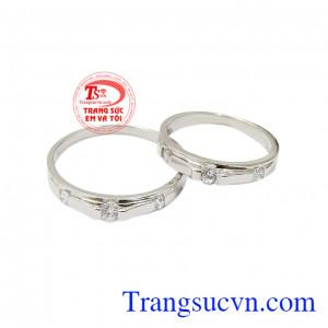 Nhẫn cưới vàng trắng mặn nồng