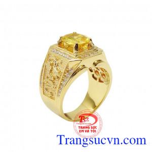 Nhẫn nam sapphire vàng rồng phượng