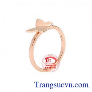 Nhẫn nữ hồ điệp vàng hồng